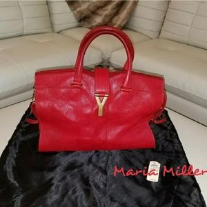 Yves Red leather Laurent Cabas Chyc bag!